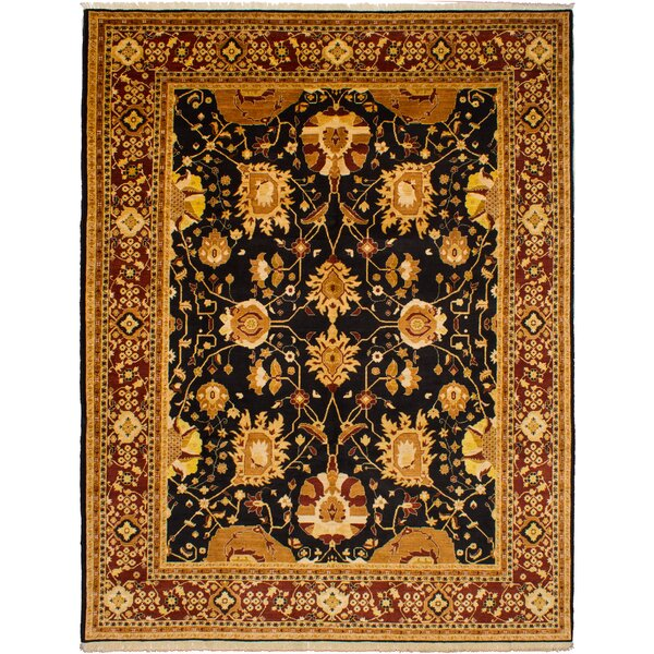 One-of-a-Kind Alasan Hand-Knotted Wool Black/Gold Area Rug by Isabelline