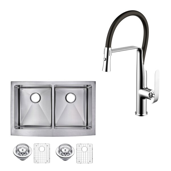 All-in-One Front Stainless Steel 33 L x 22 W Double Basin Apron Kitchen Sink with Faucet and Pull-out Sprayer by dCOR design