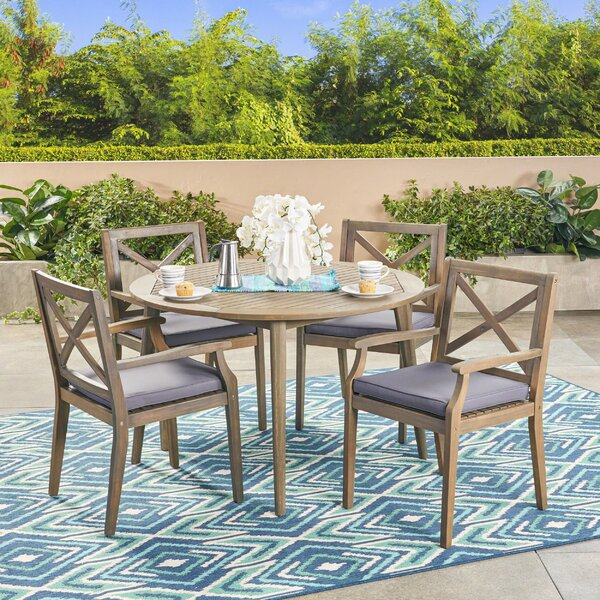 Hagues Outdoor 5 Piece Dining Set with Cushions