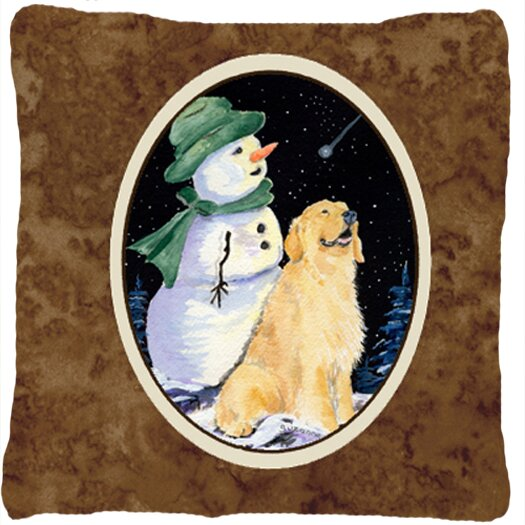 Golden Retriever with Snowman in Green Hat Indoor/Outdoor Throw Pillow by Caroline's Treasures