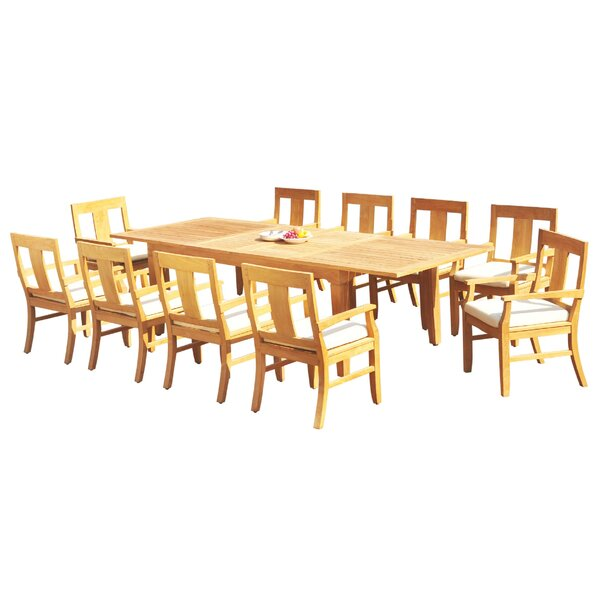 Lunado 11 Piece Teak Dining Set by Rosecliff Heights
