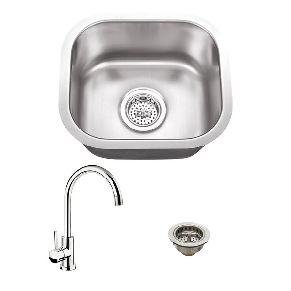 14.5 L x 13 W Undermount Bar Sink with Faucet by Soleil