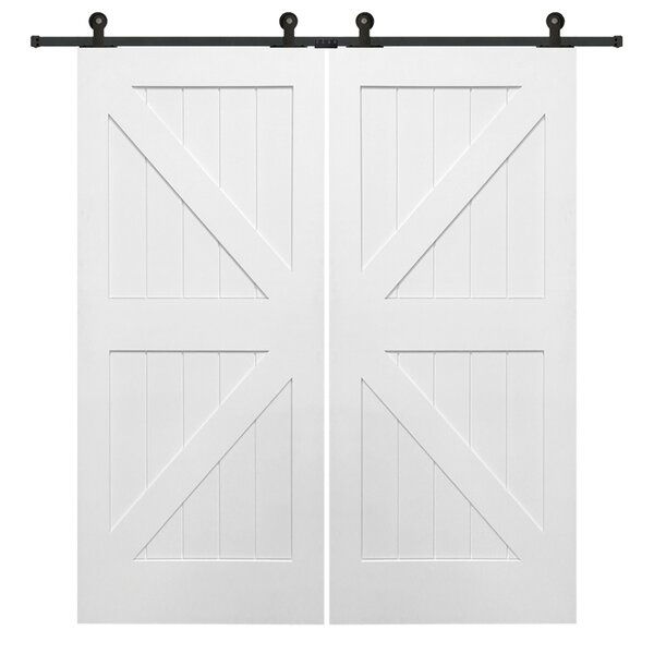 Double Stile and Rail K Planked MDF 4 Panel White Interior Barn Doors by Verona Home Design