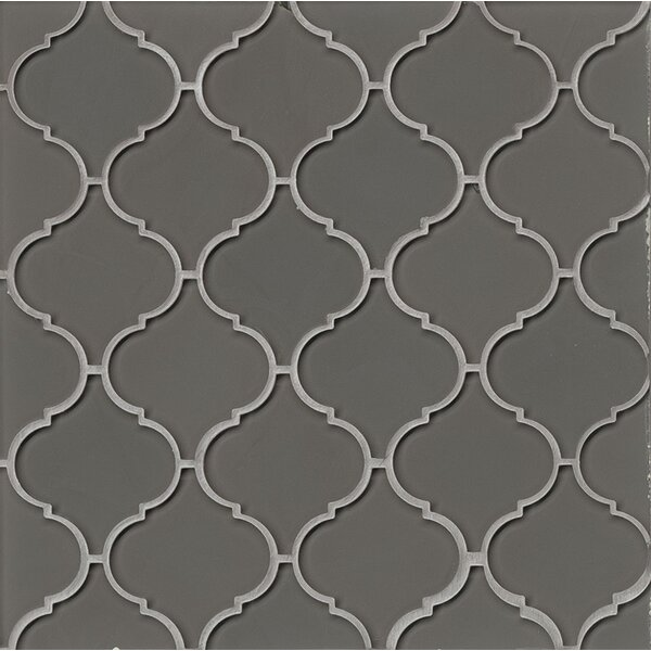 La Palma Glass Mosaic Tile in Glossy Taupe by Grayson Martin