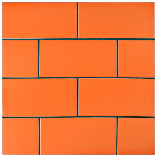 Prospect 3 x 6 Ceramic Subway Tile in Glossy Tangerine Orange by EliteTile