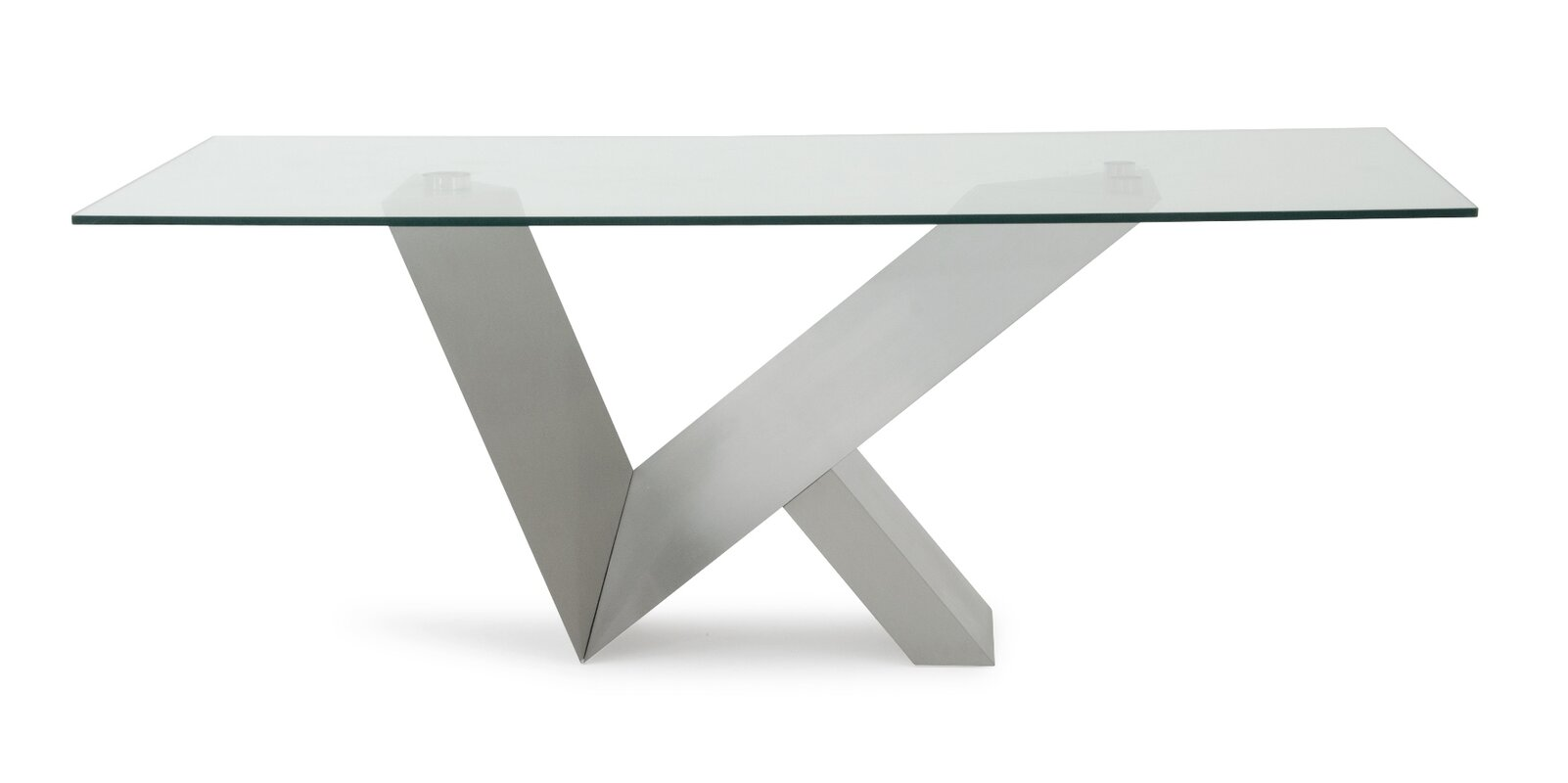Orren Ellis Carberry Glass Stainless Steel Dining Table & Reviews
