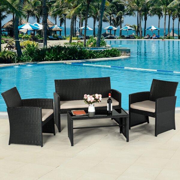 Hilmar-Irwin 4 Piece Rattan Sofa Seating Group with Cushions by Ebern Designs