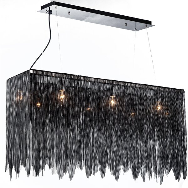 Doorfield Aluminum Chain 8-Light Rectangle Chandelier By Everly Quinn