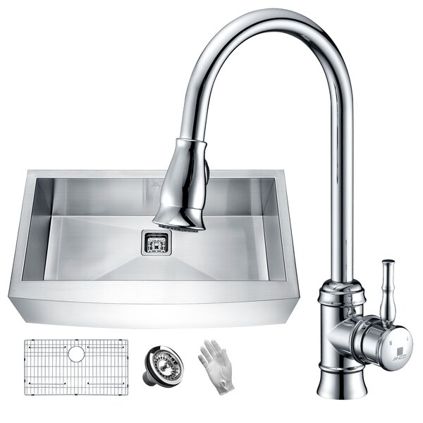 Elysian Stainless Steel 36 L x 21 W Farmhouse Kitchen Sink with Faucet by ANZZI