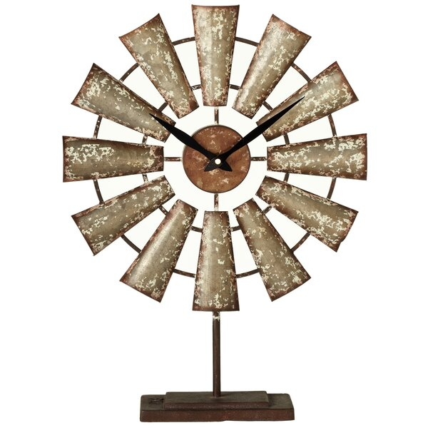 Haddon Galvanized Windmill Tabletop Clock by Gracie Oaks
