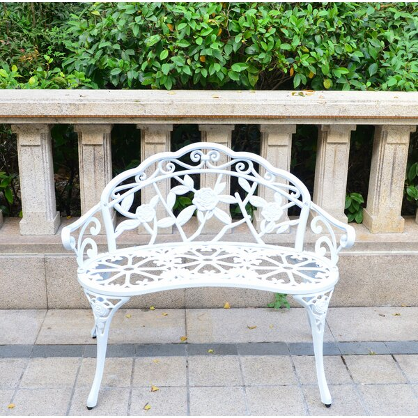 Outdoor Bench Cast-aluminum Front Porch Benches Garden Metal Loveseat Patio Furniture Rose Carving And Weather Resistant -white by August Grove August Grove
