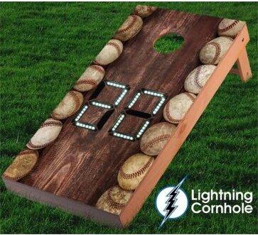 Electronic Scoring Baseballs Cornhole Board by Lightning Cornhole