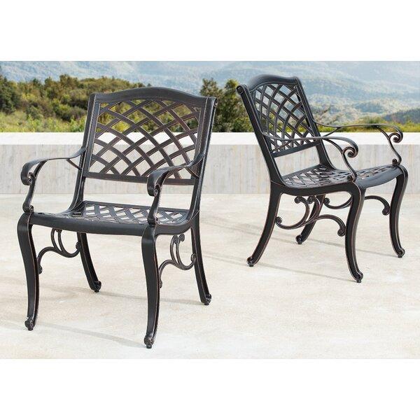 Leesa Mesh Lattice Patio Dining Chair (Set of 2) by Fleur De Lis Living