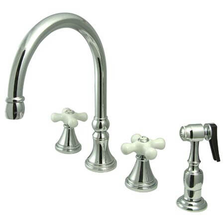Deck Mount Double Handle Widespread Kitchen Faucet with Porcelain Cross Handle by Elements of Design