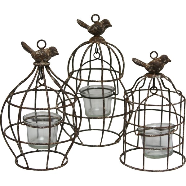 Flutter 3 Piece Metal/Glass Lantern Set by Import Collection