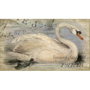 French Swan by Suzanne Nicoll Graphic Art Plaque by Red Horse Arts