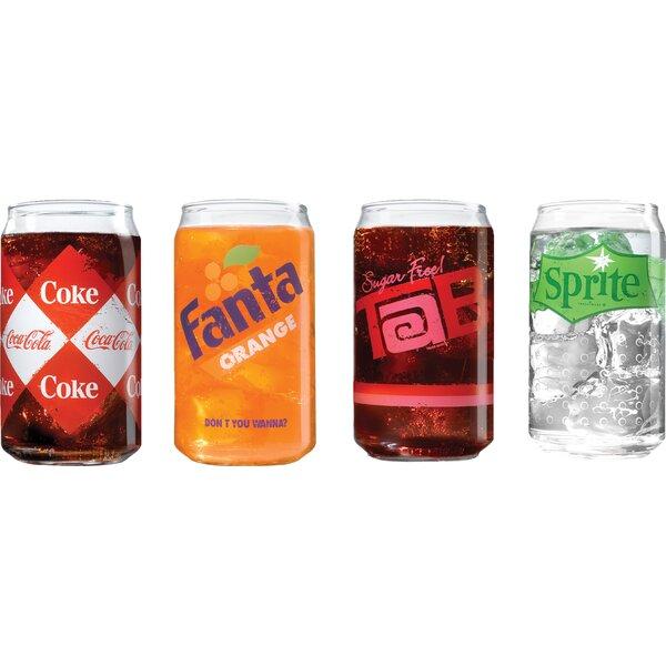 Adalric Coca Cola Branded 16 Oz. Vintage Can Shaped Glass Set (Set of 4) by Trent Austin Design