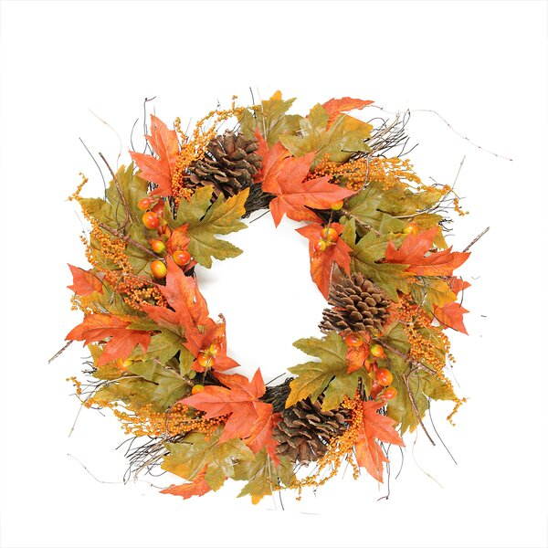 Autumn Harvest 24 Artificial Berries, Leaves, Pine Cones and Twigs Wreath by Northlight Seasonal