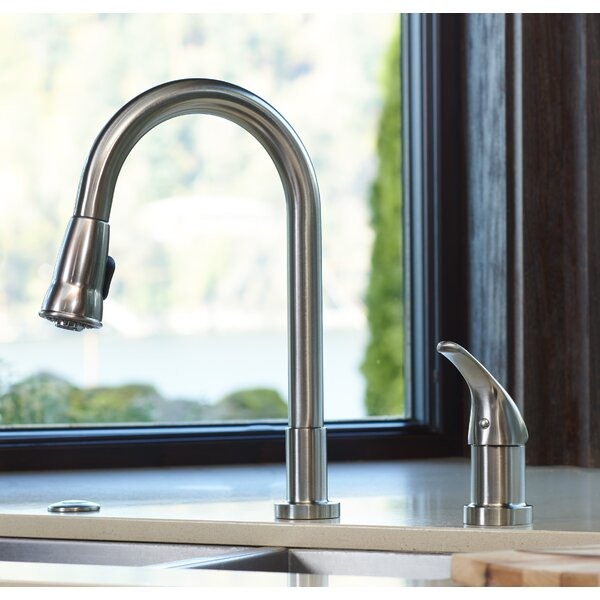 Grandview Pull Down Single Handle Kitchen Faucet with Soap Dispenser