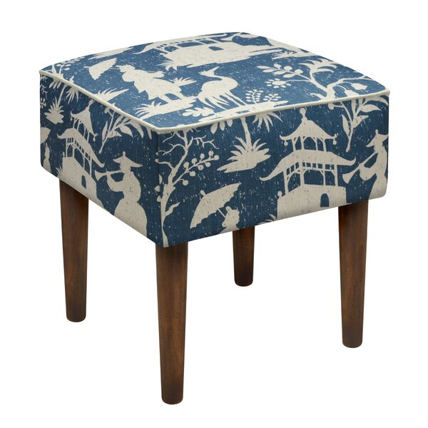 Chinoiserie Upholstered Vanity Stool by 123 Creations