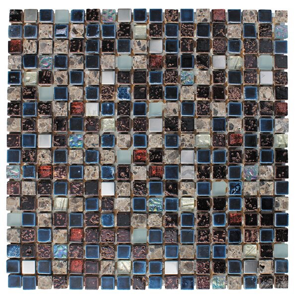 0.63 x 0.63 Glass and Natural Stone Mosaic Tile in Glazed Blue, sliver, gray and black by Intrend Tile