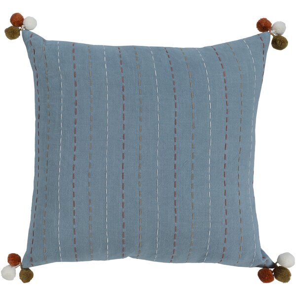 Dhaka Denim Bohemian Global Cotton Throw Pillow by Surya