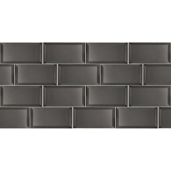 Secret Dimensions 3 x 6 Glass Subway Tile in Glossy Gray by Abolos