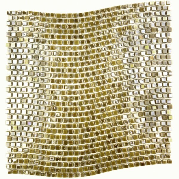 Galaxy Wavy 0.31 x 0.31 Glass Mosaic Tile in Glazed Brushed gold by Abolos