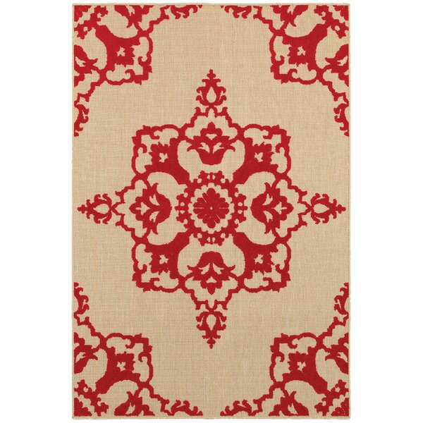 Barker Sand/Red Indoor/Outdoor Area Rug by Sol 72 Outdoor