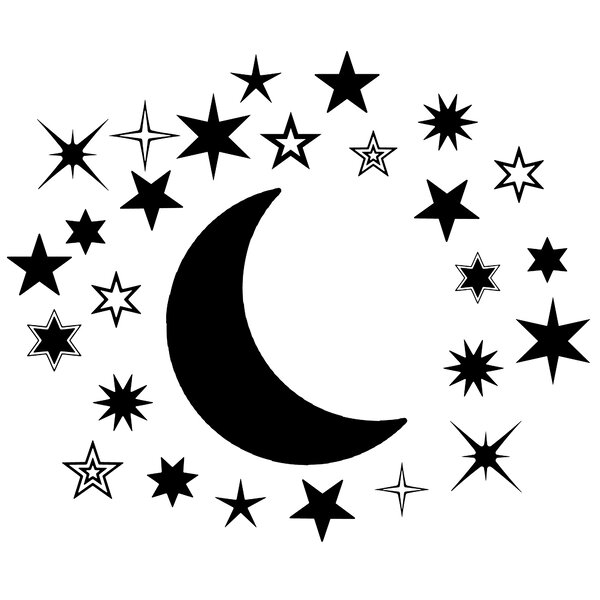 45 Star Wall Stickers Nursery Stars Art  *Any Colour* LARGE Solid Moon