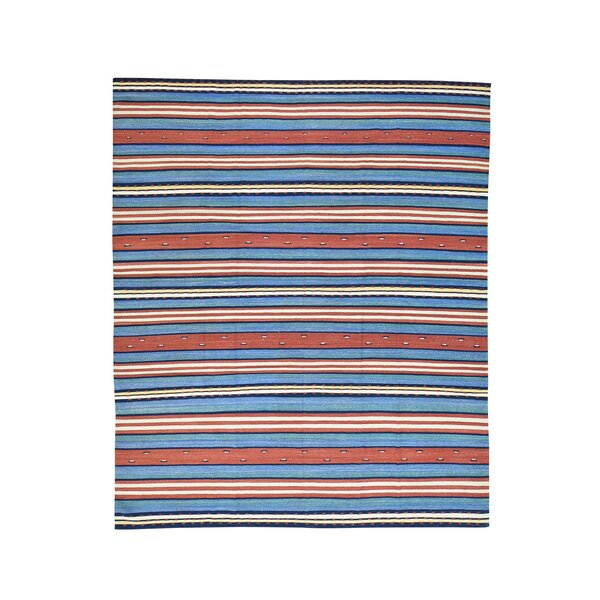 Durie Kilim Flat Weave Striped Hand-Knotted Blue/Rust Area Rug by Bloomsbury Market