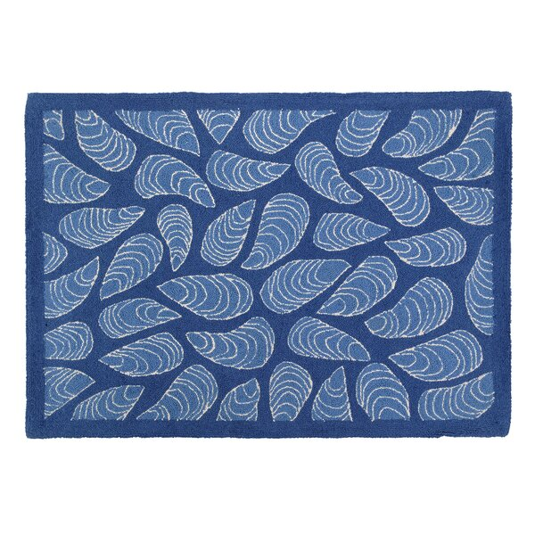 Mussels Blue Hooked Area Rug by Kate Nelligan