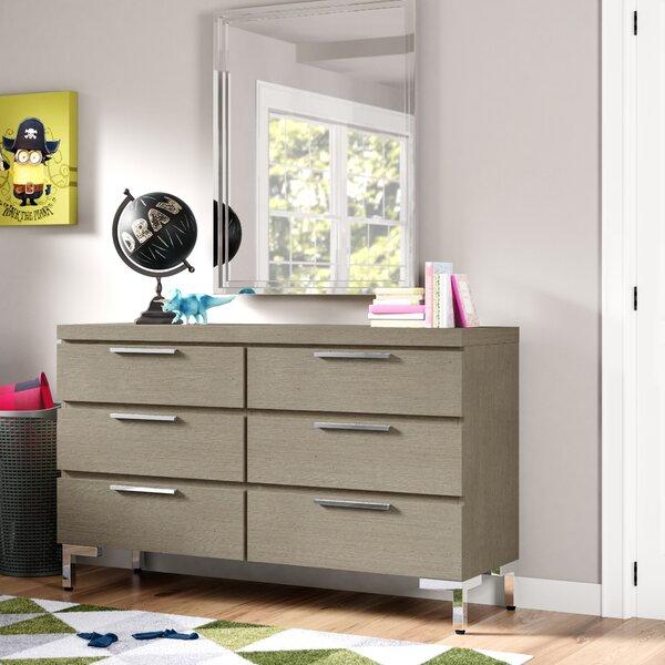 Hazen 6 Drawers Double Dresser with Mirror by Greyleigh