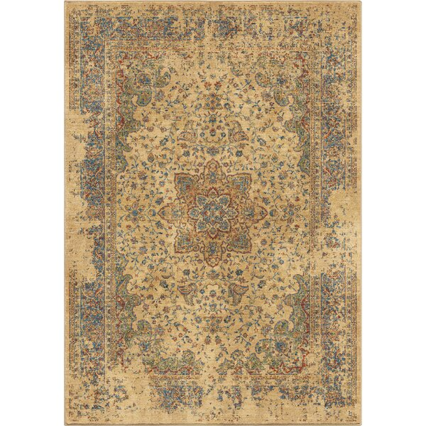Ponce Worn Traditional Beige/Blue Area Rug by Bloomsbury Market