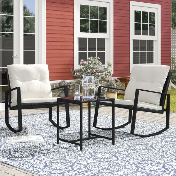 Kemmer Outdoor 3 Piece Rocking Seating Group by Charlton Home