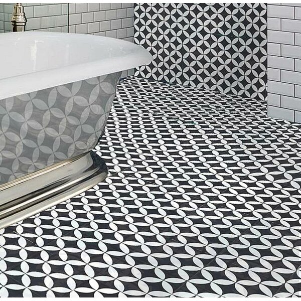 MeaLu 8 W x 8 L Cement Field Tile in Black/White (Set of 4) by Rustico Tile & Stone