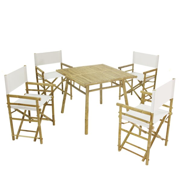 Whitson Bamboo Pub 5 Piece Dining Set with Umbrella by Bay Isle Home