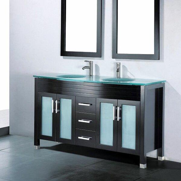 Adornus adora 59 double bathroom vanity set with mirror for Bathrooms r us reviews