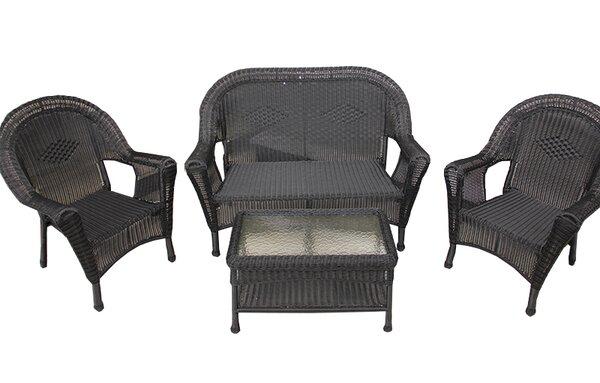 LB International 4 Piece Wicker Patio Furniture Set