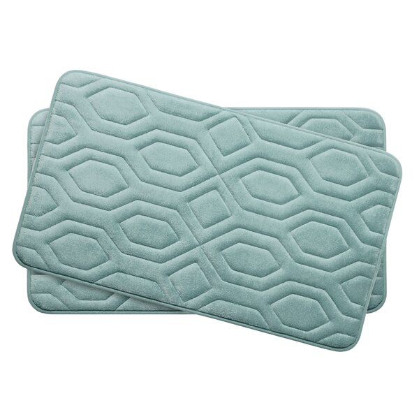 Turtle Shell Small Premium Micro Plush Memory Foam Bath Mat Set (Set of 2) by Bath Studio