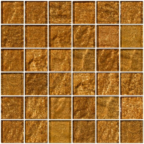2 x 2 Glass Mosaic Tile in Cinnamon Shimmer Brown by Susan Jablon