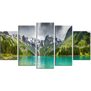 'Mountain Lake Panorama' 5 Piece Wall Art on Wrapped Canvas Set by Design Art