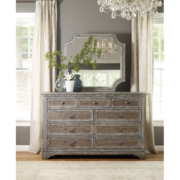 True Vintage 9 Drawer Standard Dresser/Chest with Mirror by Hooker Furniture