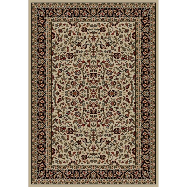 Jewel Kashan Ivory/Black Area Rug by Threadbind