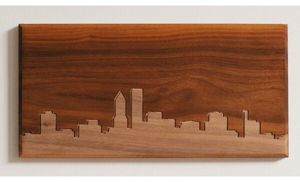 City Skylines Solid Walnut Portland Skyline Routing Wall Art by Dave Marcoullier Wood Routings