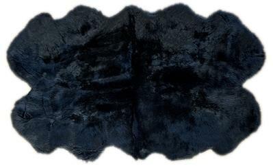 Fabian Shag Quarto Handmade Shag Sheepskin Black Area Rug by Brayden Studio