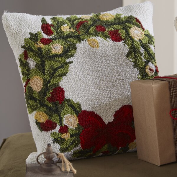 Haggerty Wreath Throw Pillow by Three Posts