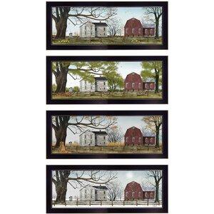 'Four Seasons II' 4 Piece Framed Graphic Art Print Set by Trendy Decor 4U