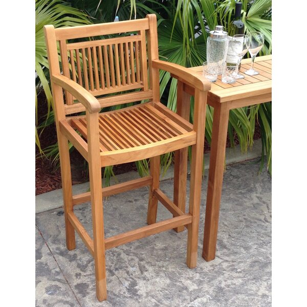 Maldives 29 Teak Patio Bar Stool by Chic Teak