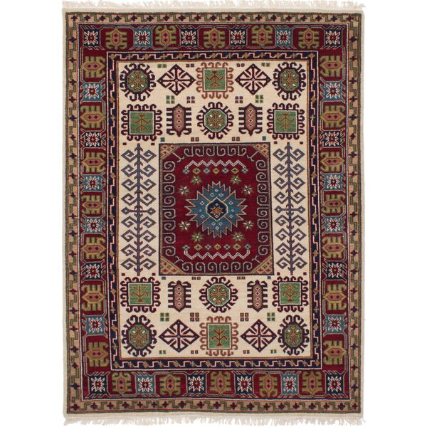One-of-a-Kind Dominy Hand-Knotted Wool Cream/Dark Red Area Rug by Isabelline